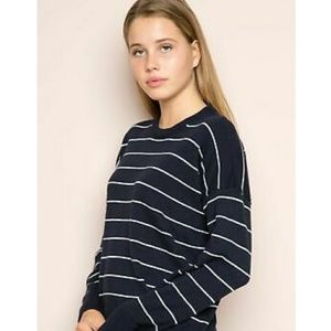 Brandy Melville Navy and White Stripe Sweater